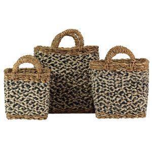 Village Black / White Set of 3 Organic Jute Baskets