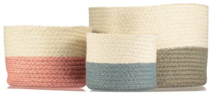 Two Tone Organic Jute Baskets