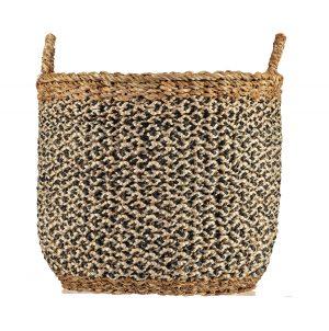 Village Black / White Organic Jute Basket