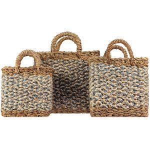 Village Thistle / White Set of 3 Organic Jute Baskets