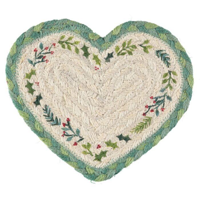 Christmas Organic Jute Hearts coasters