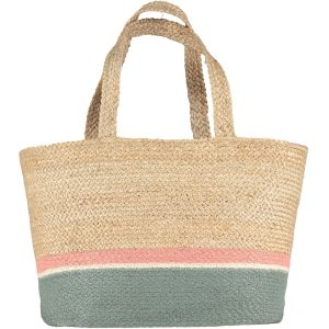 Summer Rose/Thistle Large Raw Jute Tote Long Handle