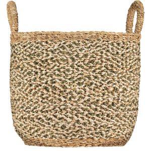 Village Olive / White Organic Jute Basket